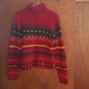 AZ red jacquard sweater